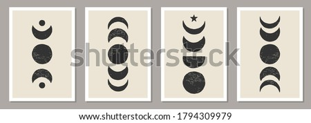 Trendy set of Moon Phases abstract contemporary aesthetic posters, wall art decor, mid century modern minimalist art print background, organic shapes, magic concept