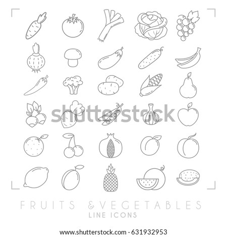 Trendy simple thin line fruits and vegetables icons big set. Healthy eco, tropic vector illustrations. #631932953
