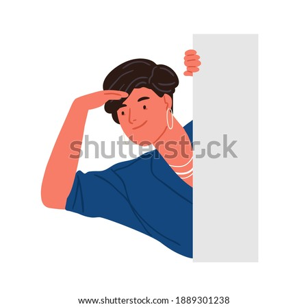 Trendy smiling woman peeping from behind wall vector flat illustration. Stylish positive female character searching or seeking something isolated on white. Adorable person peeking. Stock photo ©