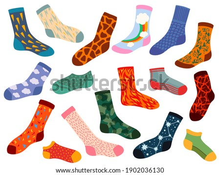 Trendy socks. Stylish woolen and cotton sock design with texture and pattern. Cartoon modern socks. Flat winter clothing elements vector set. Illustration cotton trendy winter, clothes sock pair