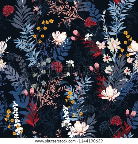 Trendy Soft and gentle in the dark garden full of  blooming flower  seasonal seamless pattern vector ,hand drawing style for fashion, fabric and all prints on navy blue background.