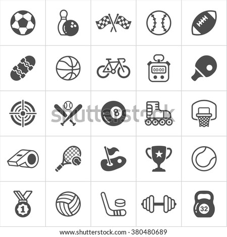 Trendy sport flat icons. Vector