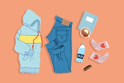 Trendy sport outfit top-down view. Hand-drawn instagram style flatlay illustration. Modern hoodie, jeans, socks and note book on a plain background. Objects are isolated.