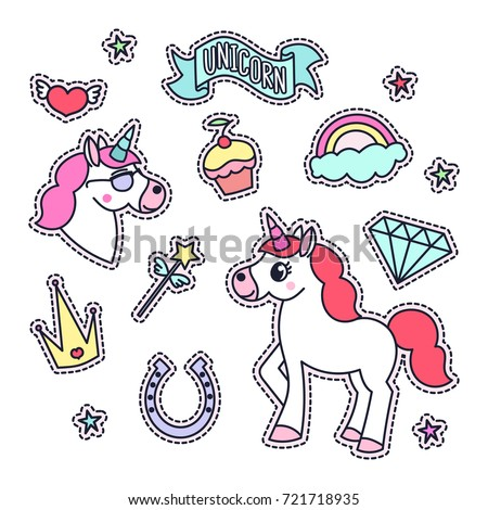 Trendy sticker pack with magical unicorn, stars, diamond, cake, heart, cloud and rainbow, ribbon, magic wand. You can use as stickers, icons, pins, patches, etc.