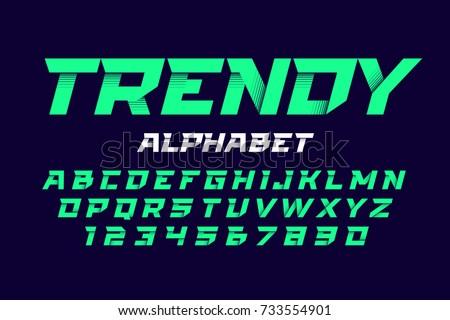 Trendy style alphabet vector illustration