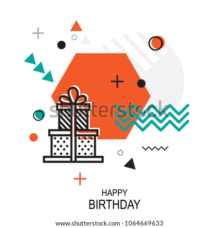Trendy style geometric pattern with Gift, vector illustration with line elements and abstract geometric figures. Design backgrounds for wallpaper