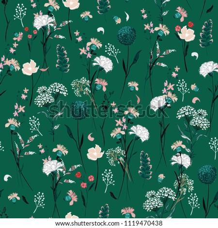 trendy summer meadow flowers