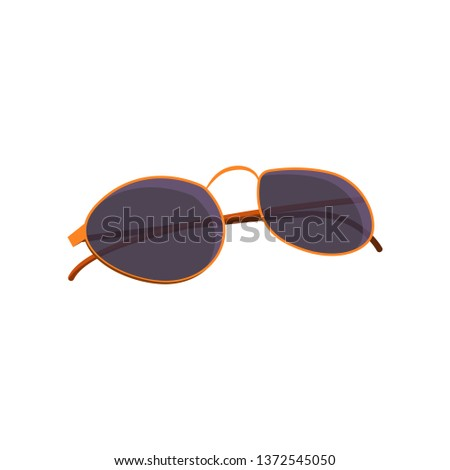 Trendy sunglasses. Spectacles with thin orange frame and black shades.  #1372545050