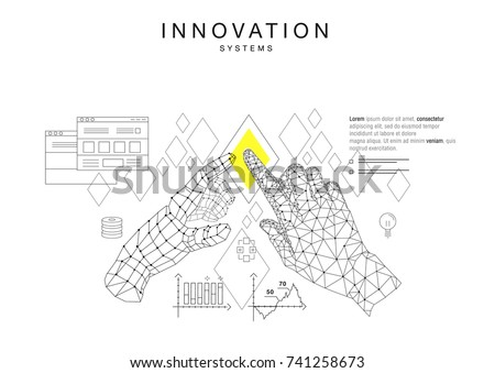 Trendy technics Innovation systems layouts in polygon contour line composition, future analysis and technology operations. Made in awesome really geometry style with linear pictogram of future design