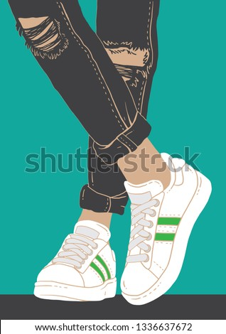 trendy teen wearing sneakers