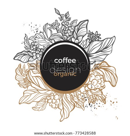 Trendy template with gold and black design organic food. Symbol nature card of coffee branch with art line leaf, bean and flower Floral frame with geometric of circle. Vector real modern illustration