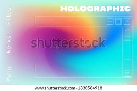 Trendy texture with polarization effect and colorful neon holographic stains. Abstract psychedelic background.