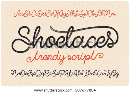 Trendy textured one line handwritten font script named