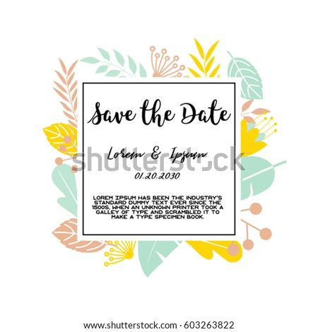 Trendy tropical jungle style vector invitation template. textured leaves flower background. Save the date.Square wedding Invitation Card.Flowers Background.