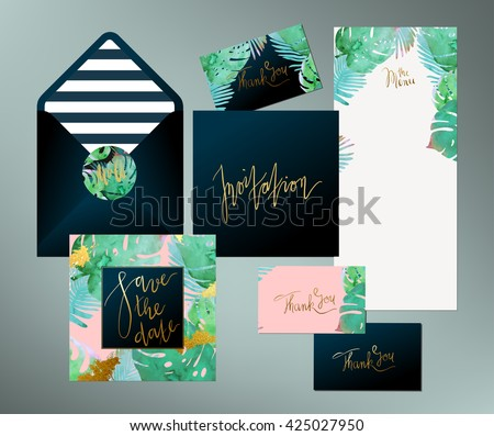 Tropical vector wedding invitation download free vector art stock trendy tropical jungle style vector wedding print set invitation cards menu and envelope vector stopboris Images