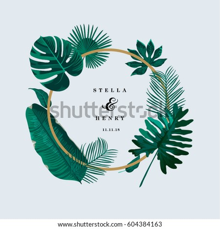 trendy tropical leaves vector