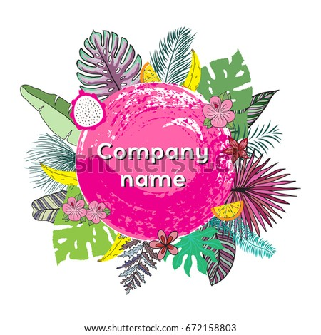 Trendy Tropical Leaves Vector Design. Illustration for posters, logotype company, greeting and invitation cards, print and web projects.