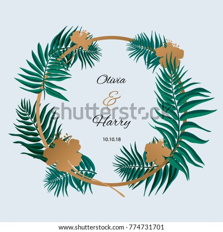 Trendy Tropical Leaves Vector Design. Palm leaves with golden flowers. #774731701