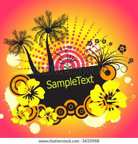 trendy tropical vector palmtree and flower design