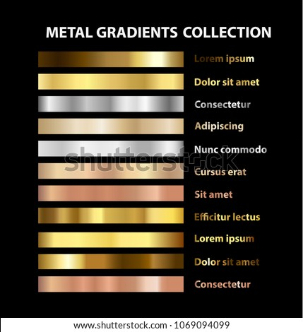 Trendy UI gold, bronze and silver or steel metal gradients collection