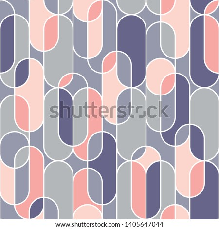 Trendy upright oval geometric shape  seamless pattern in retro style. Vintage 70s vibes repeatable motif for fabric, background, surface design, textile. Tile rapport vector illustration