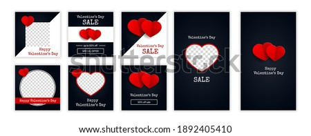 Trendy Valentine's Day posts and stories template for blog and sales. Web online shopping banner concept. Vector illustration
