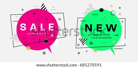 Trendy vector bubbles with geometric patterns and icons. Flat thin line style for sale banners, posters and placards designs. Vintage concept for retro business cards.