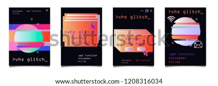 Trendy Vector Holographic Gradient and Glitch Art Elements, A4 Poster Design Set. Modern Backgrounds for Poster, Brochure, Advertising, Placard, Invitation Card, Music Festival, Night Club. EPS 10. #1208316034