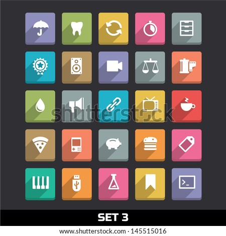 trendy vector icons with long