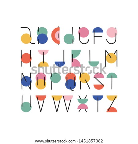 Trendy Vector minimalistic ABC typeset . Modern hand drawn letters alphabet. English alphabet.