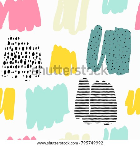 Trendy vector seamless pattern with brush strokes. Hand drawn abstract card, pastel colors.