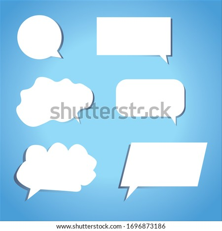 Trendy vector Speech bubbles set of circular and rectangle bubbles with gradient shadows