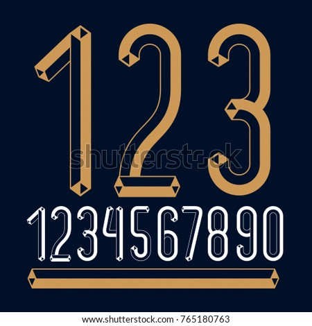 Trendy vintage vector digits, numerals collection. Retro condensed numbers from 0 to 9 can be used in art  poster creation. Created with carton tube style, trigonometry design.