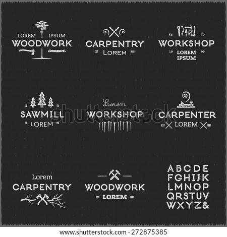 trendy vintage woodwork logo