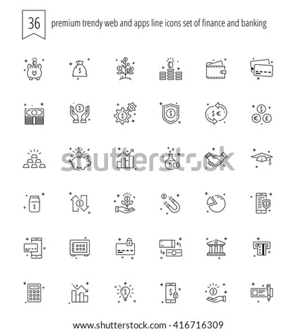 trendy web and apps line icons