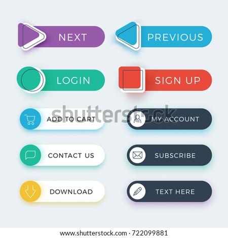Trendy web and ui application color buttons vector set. Web button for navigation website, interface menu illustration