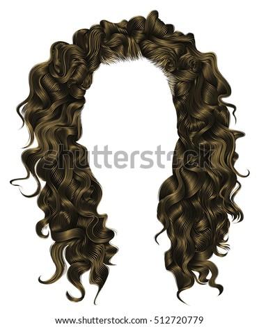 trendy woman curly  long  hair