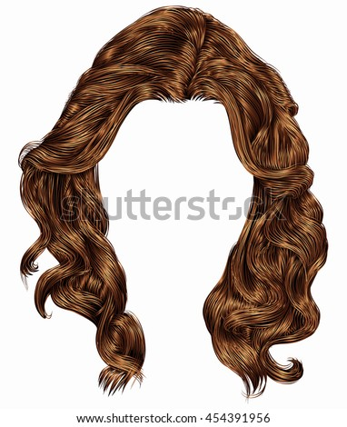 trendy woman long curly  hairs