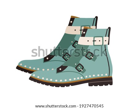 Trendy women ankle-length boots with flat sole, cap toe and monk straps or buckles. Side view of modern fashion footwear. Colored vector illustration of stylish shoes isolated on white background Stock photo ©