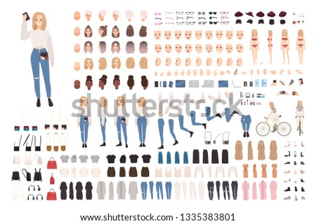 Trendy young girl constructor set or DIY kit. Collection of body elements in various postures, fashionable apparel. Female cartoon character. Front, side, back views. Flat vector illustration.