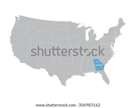 trey vector map of United States with indication of Georgia