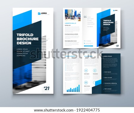 Tri fold blue brochure design with square shapes, corporate business template for tri fold flyer. Template is white with a place for photos. Creative concept folded flyer or brochure.