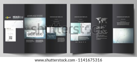 Tri-fold brochure business templates on both sides. Abstract vector layout in flat design. Genetic and chemical compounds. DNA and neurons. Medicine, chemistry, science concept. Geometric background.