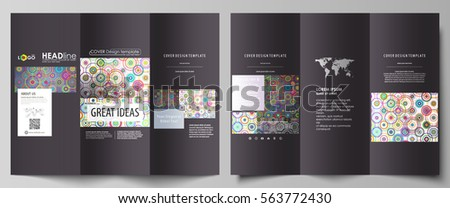 Tri-fold brochure business templates on both sides. Easy editable abstract vector layout in flat design. Bright color background in minimalist style made from colorful circles.