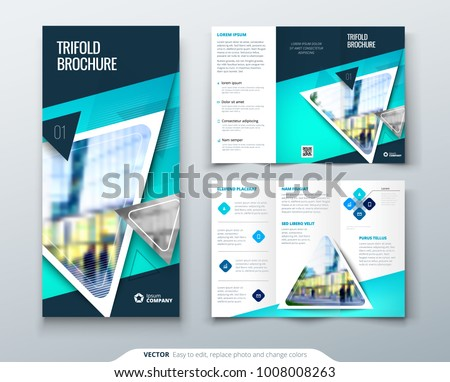 tri fold brochure design blue