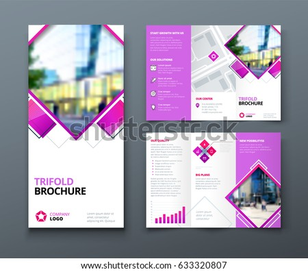 business tri fold brochure template design with geometric shapes