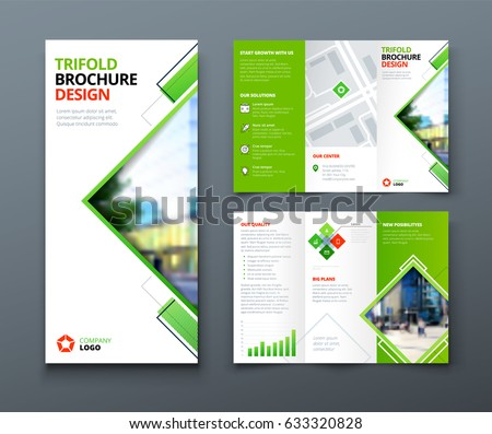 Tri fold brochure design. Corporate business template for tri fold flyer with rhombus square shapes