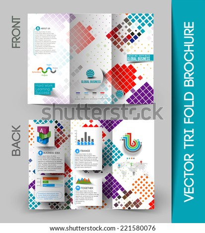 Tri-fold Brochure Design Element Vector Illustartion