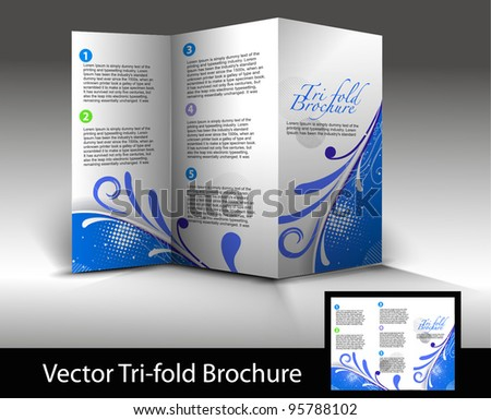 Tri-fold brochure design element, vector illustration.