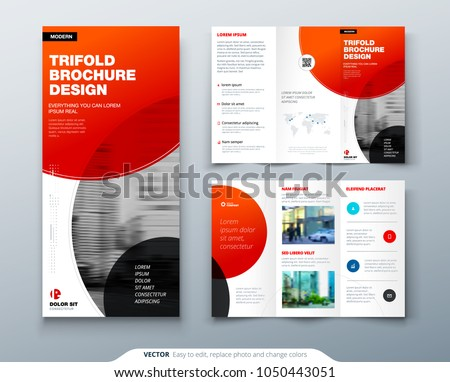 Tri fold brochure design. Red business template for tri fold flyer. Layout with modern circle photo and abstract background. Creative 3 folded flyer or brochure concept.